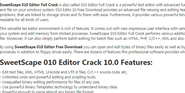 SweetScape 010 Editor Crack 10.0 Free Download